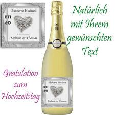 Flaschenetikett *Blecherne Hochzeit* 8.Hochzeitstag, glänzend***2 Motive