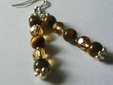 6m Tiger Eye & Gold Crystal Earrings - Sterling Hooks - Combined Shipping