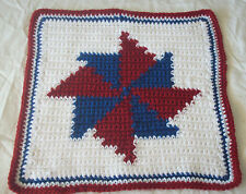 Crocheted Patriotic Pinwheel Hot Pad and Double Thick Pot Holder