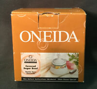 """Oneida Orchard 5"""" Covered Sugar Bowl. Select Collections: Orchard. New In Box"""