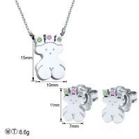 Stainless steel Necklace Touss Pendant Earrings Teddy bear- CZ Jewelry Sets