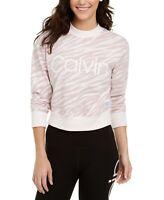 Calvin Klein Sweatshirt Crew Pullover Zebra Print Women Pink Sz XL NEW NWT 444