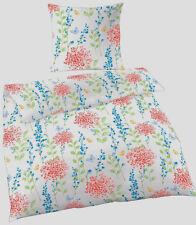 Bettwäsche 135x200 cm Blumen Schmetterling blau rot Baumwolle