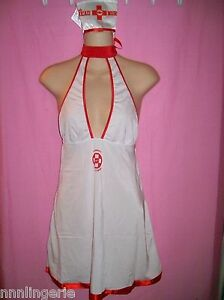 Hustler Lingerie Naughty Nurse 2 piece Costume Roleplay Set White & Red One Size