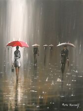 Pete Rumney Art Painting Rain In The City Red Umbrella Handpainted Signed Canvas