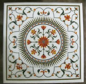 24 Inches Carnelian Stone Inlaid Center Table Top Square Marble Coffee