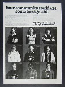 1979 AFS International Foreign Exchange Student Programs vintage print Ad