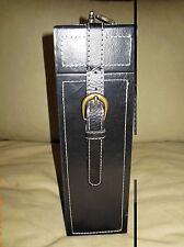 Decorative Glass Liquor/Wine w/Leather/Faux Leather Case Black fits 1.5 liters