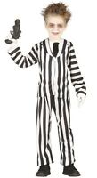 Boys Black White Beetlejuice Ghost Halloween Fancy Dress Costume Outfit 3-12yrs