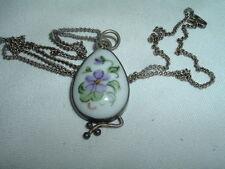 Vintage Hand Painted Porcelain Violet Pendant Necklace In Gift Box