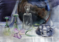 "Iris with Wine Glasses and Silver 18x24"" Original Oil Painting by HALL GROAT II"