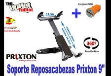 """SOPORTE REPOSACABEZAS PARA Tablet PRIXTON 9"""" 9 GIRATORIA + CARGADOR USB"""
