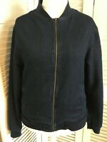 EASY MENS/WOMENS UK LARGE STRETCH DARK BLUE ZIPPED FRONT DENIM JACKET