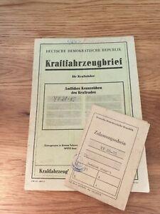KFZ Brief Zulassung DDR Kraftrad Krad Motorrad Pannonia de Luxe 250 Beiwagen