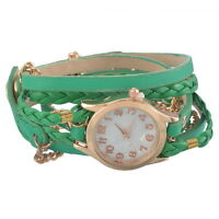 Weave Wrap Around Leather Bracelet Quartz Wrist Watch Girl Women Hot  Wristwatch