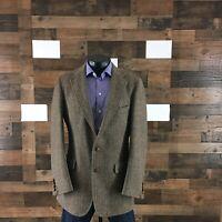 Chaps Ralph Lauren 38L Sport Coat Blazer Tweed Herringbone Men's Vintage Brown