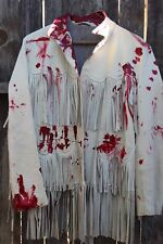 Vintage 1950s Zombie Cow Girl Coat Costume Bloodied Tan Leather Fringe Trim Smal