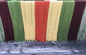 Vtg Knitted Crocheted Afghan Quilt W/ Fringe Full Size
