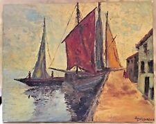Vintage Original Sail Boat Oil Painting - Signed James Lawrence