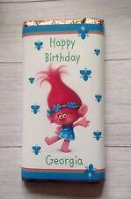 PERSONALISED Trolls CHOCOLATE BAR WRAPPER fits Galaxy 114g Birthday Gift