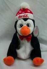 "Coca-Cola 1997 Cute Penguin W/ Coke Bottle 7"" Bean Bag Stuffed Animal Toy New"