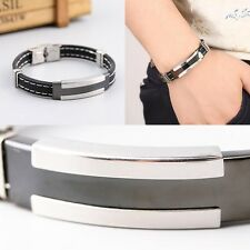 Bangle Clasp Cuff Bracelet Hot Men's Women's Stainless Steel Silicone Wristband