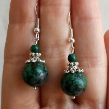 Green Fuchsite and Malachite gemstone cute 925 Sterling Silver Hook Earrings