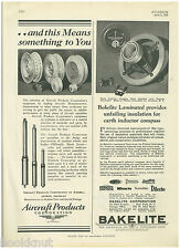 1929 ad for Bakelite Aircraft Parts