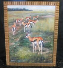 Wild life Africa 70's Original Oil painting of Gazelles by M.Ismail 16 x 10