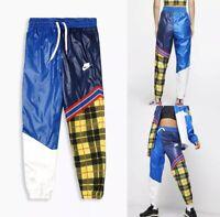 $90 Nike Sportswear NSW Women's Woven Plaid Pants Blue CI7917 492 Size XL