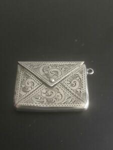 Edwardian Solid Silver Bright Cut Stamp Case Pendant Adie & Lovekin 1907
