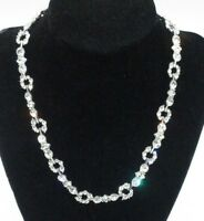 Vintage Monet Signed Necklace Gold Tone Rhinestone Crystal Collar Shiny Party