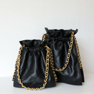 Quilted Real Leather Gold Chain Drawstring Bucket Bag Shoulder Purse Crossbody