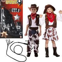 Cowboy Cowgirl Boys Girls Childs Kids Fancy Dress Costume Opt Gun, Whip Age 3-12
