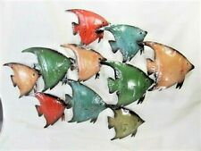Angelfish School hand painted rustic metal wall art home decor