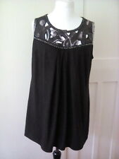 EVANS Metallic black detailed Top Size 18 sleeless