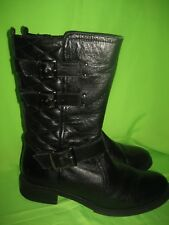 "Moda in Pelle  ""Henrita""  Mid Calf Leather Black Boots  Size 5 / 38"