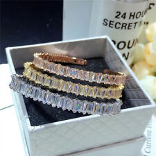 18K Gold Trendy Bangle Bracelet made w/ Swarovski Crystal Baguette Stone