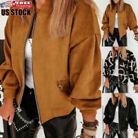 Women's Casual Lantern Sleeve Coat Ladies Winter Warm Zip Bomber Jacket Overcoat