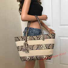 MICHAEL KORS SNAKE LEATHER COATED COTTON SATCHEL TOTE SHOULDER BAG PURSE POUCH