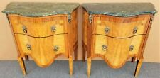 2 French Louis Xv Olive Burl + Marble Nightstands End Tables Chests Gilt Mounts