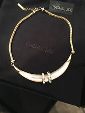 NWT Rare Rachel Zoe Mother of Pearl Horn Gold Collar Crystal Necklace $350