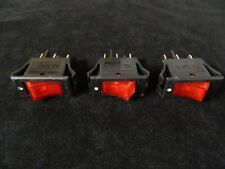 3 PACK ROCKER SWITCH ON OFF MINI TOGGLE RED LED 12V 16 AMP EC-1220RD