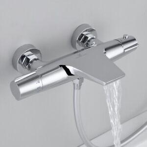 Badewannenarmatur Thermostat Wasserfall Mischbatterie Wannenbatterie Bad Aufputz