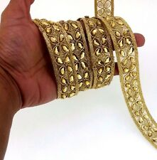 Home Cake decor  Gold Bridal Lace Trim Ribbon Craft Wedding sari Border by Yard