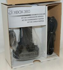NEW Genuine Microsoft XBox 360 QUICK CHARGE KIT w/Battery Pack Charger BLACK oem