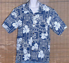 Vintage Silk Brand Hawaiian Shirt Blue White Tropical Symbols Flowers Size XL