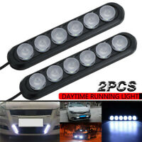 2X Car Motorcycle LED DRL Daytime Running Lights Driving Daylight Fog Lamp