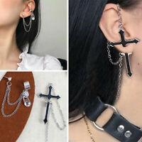 Women Gothic Rock Punk Cross Long Tassel Chain Ear Wrap Cuff Stud Clip Earring