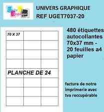 étiquettes 70 x 37.1  mm  planche A4  de 24 étiquettes compatible 3474 ou DP247